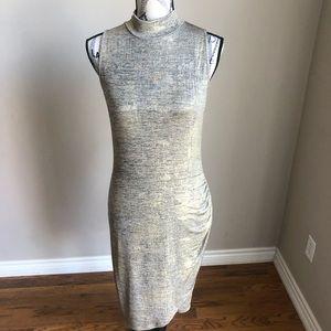 Papillon Blanc Metallic Gold Mock neck Dress M